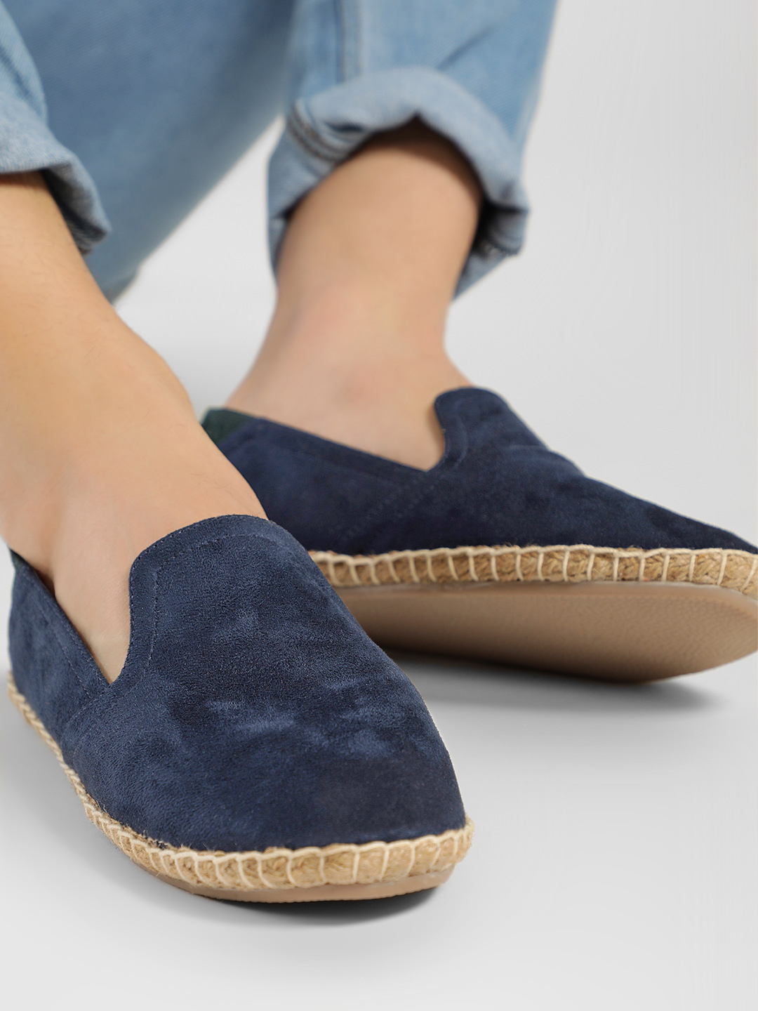 KOOVS Navy Colour Block Suede Espadrilles 1