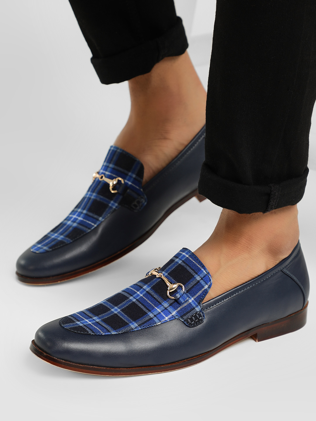 KOOVS Navy Check Panel Casual Loafers 1