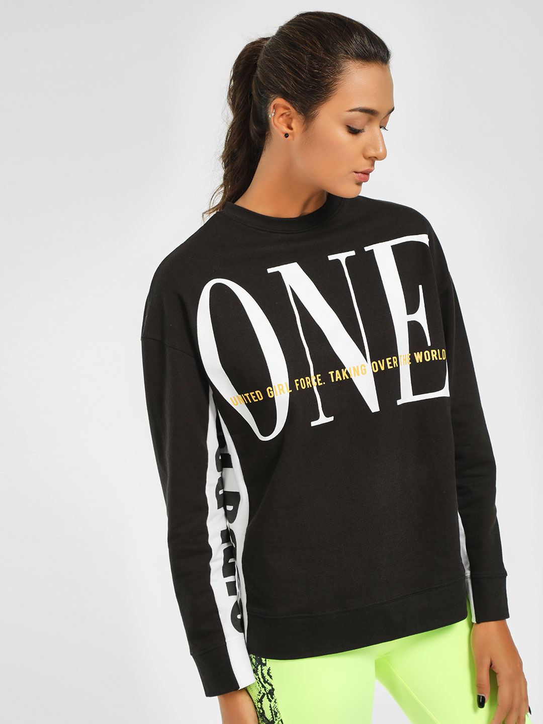 KOOVS Black Text Side Tape Oversized Sweatshirt 1
