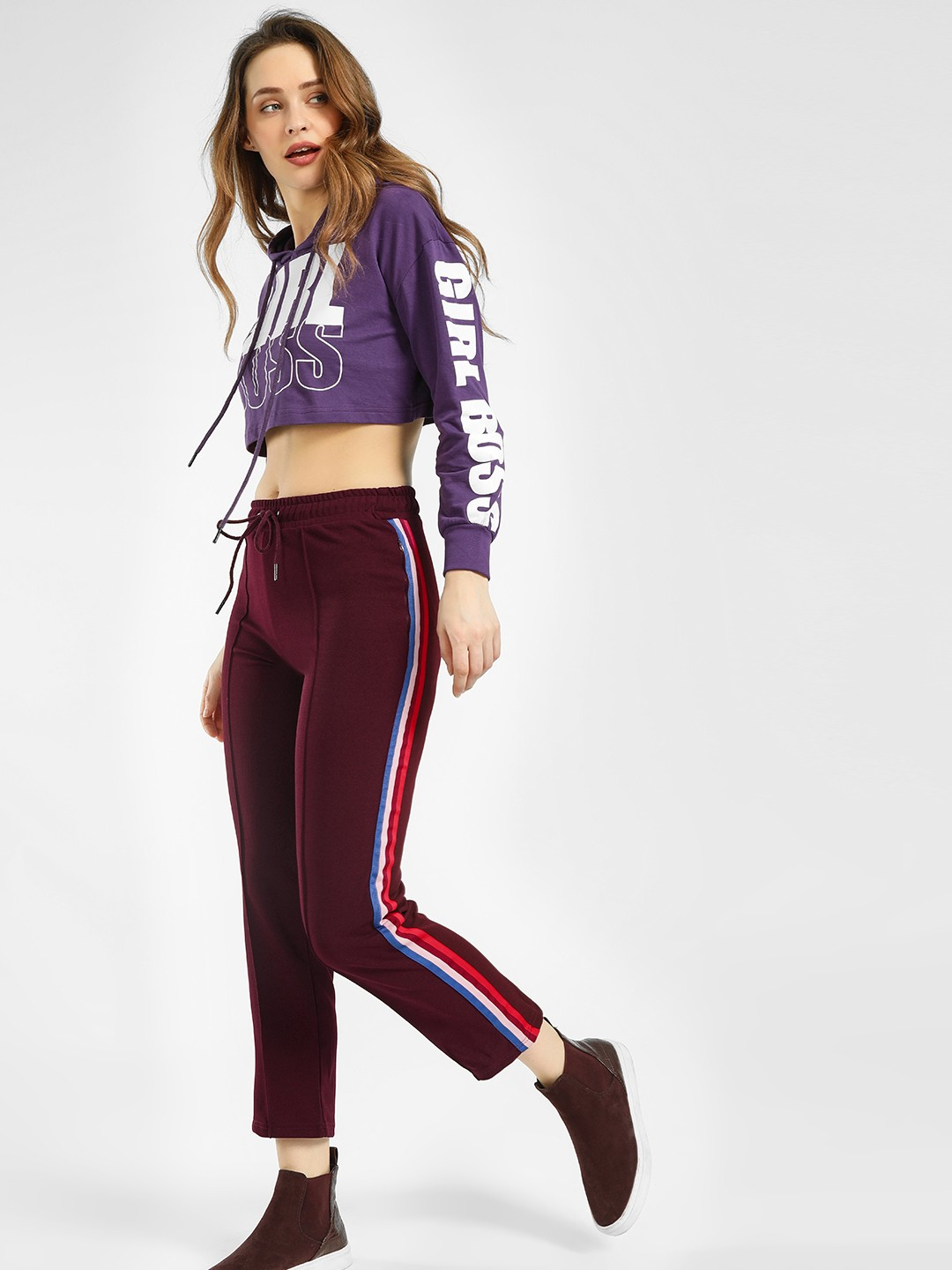 KOOVS Maroon Side Tape Cropped Joggers 1