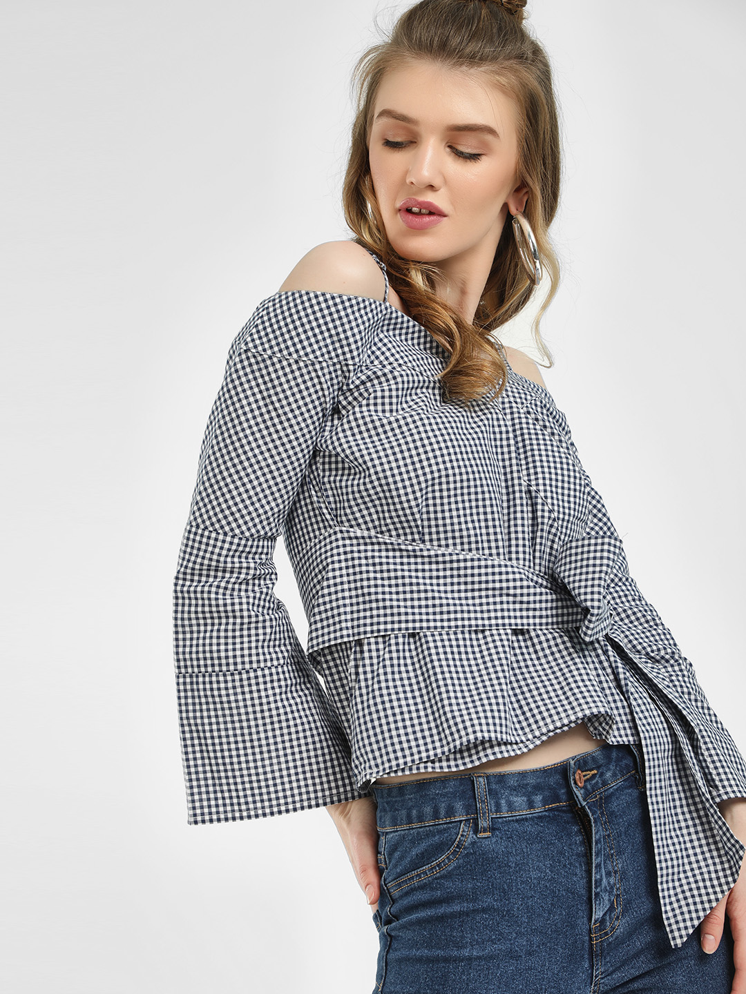 KOOVS Blue Gingham Cold Shoulder Top 1