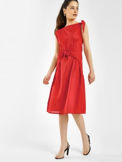 KOOVS Front Tie Knot Midi Dress