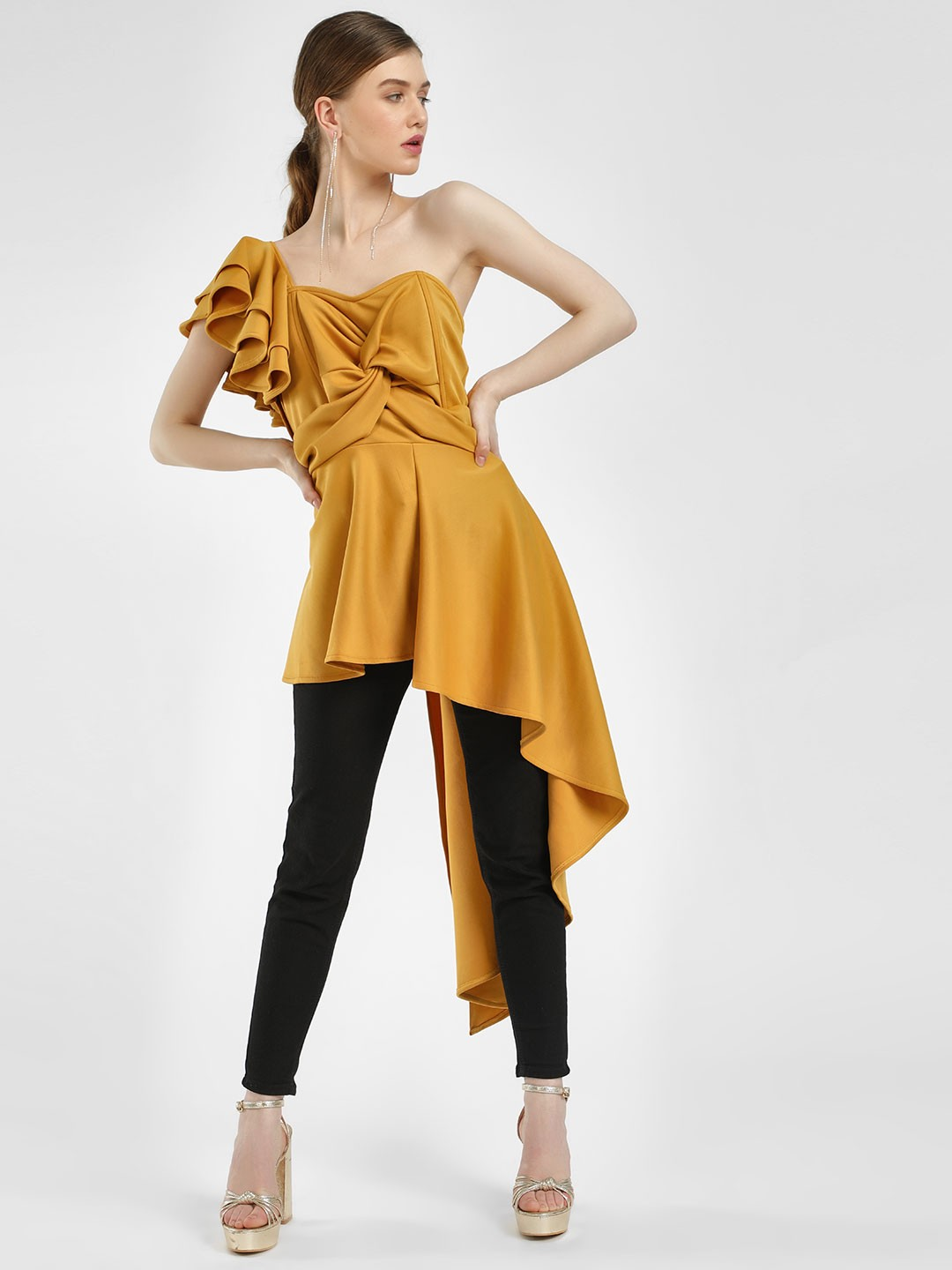 KOOVS Yellow Ruffle Twist Front Asymmetric Top 1