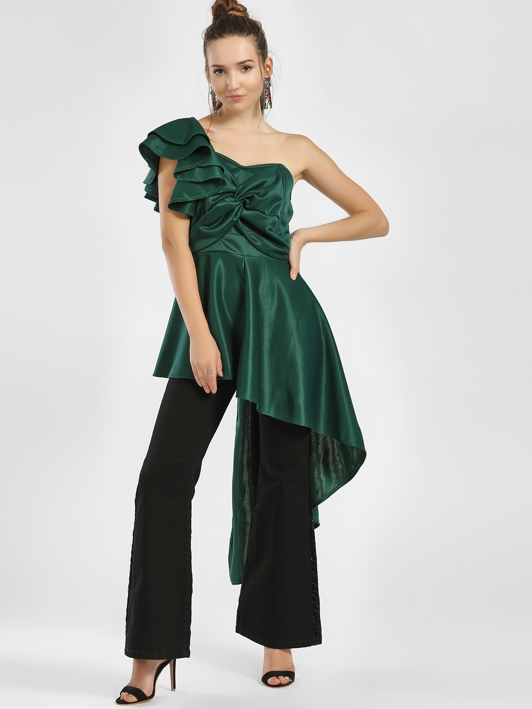 KOOVS Green Ruffle Twist Front Asymmetric Top 1