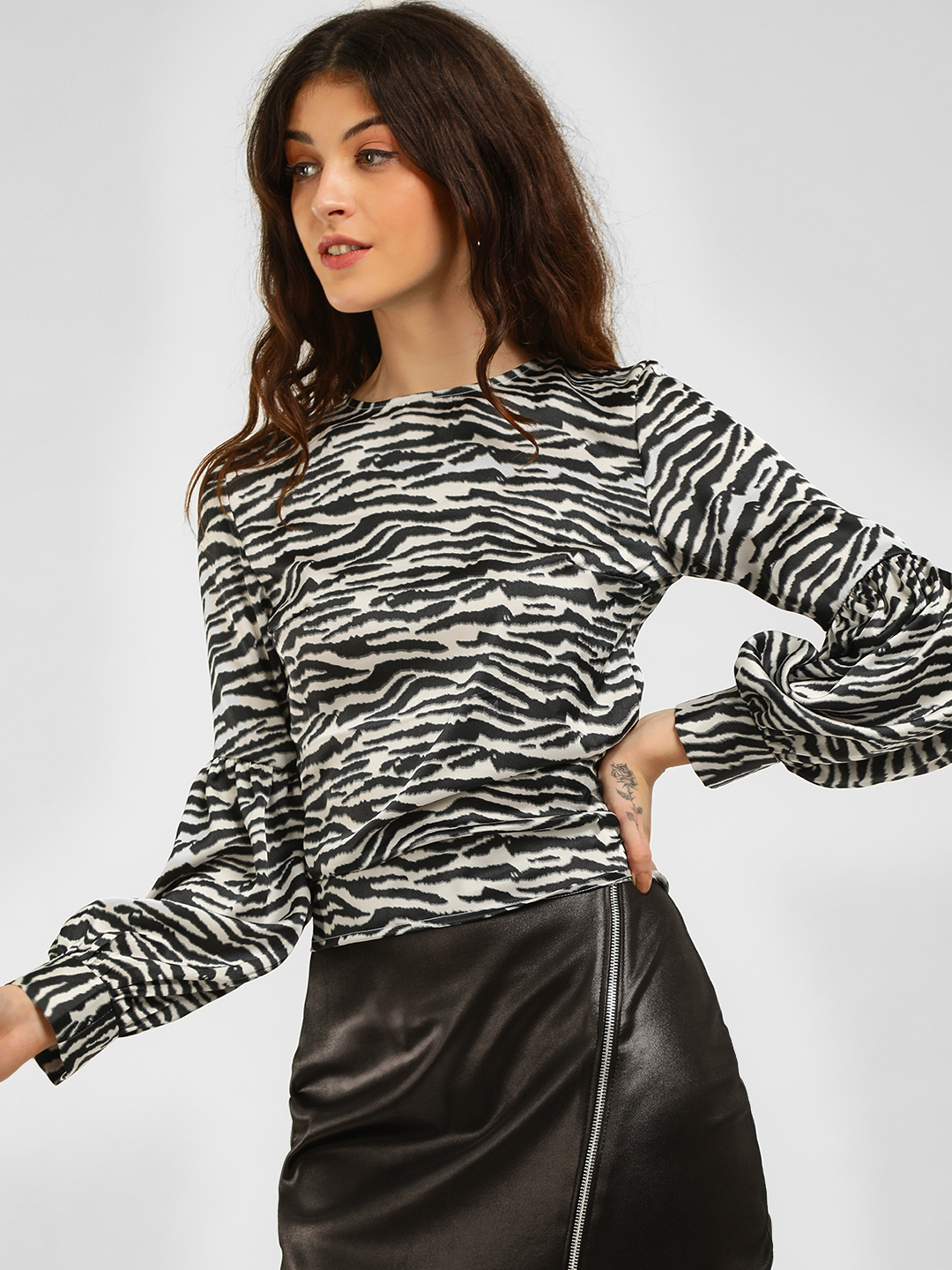 KOOVS Black/White Zebra Print Back Tie Top 1