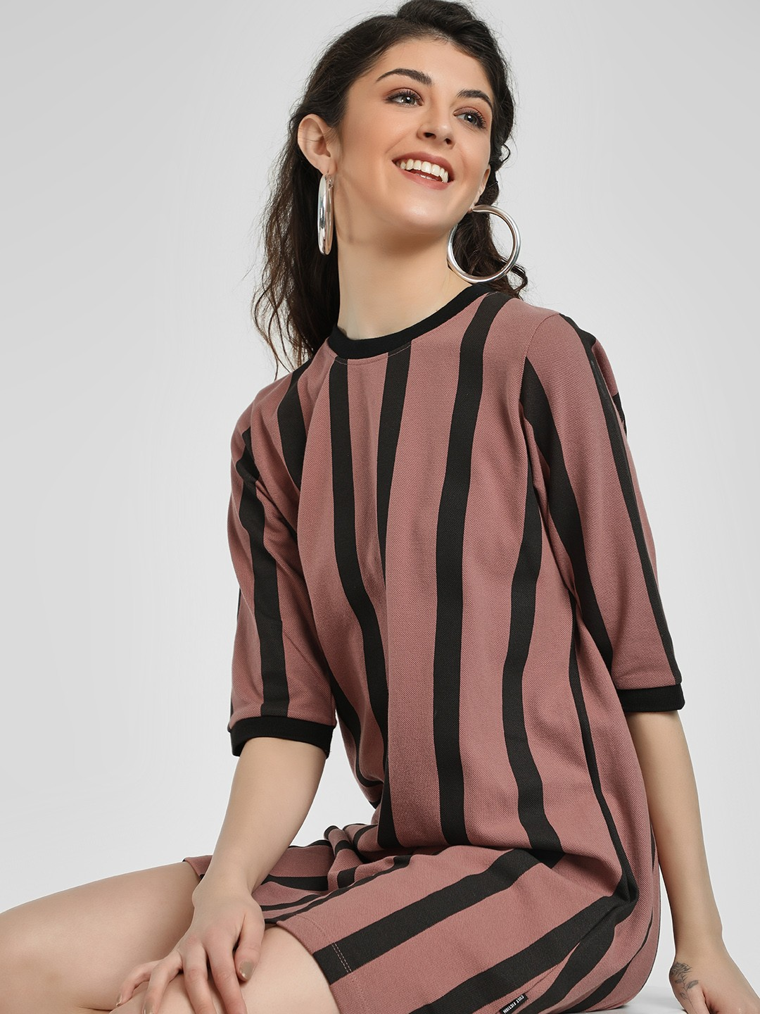 Cult Fiction Multi Vertical Stripes T-Shirt Dress 1