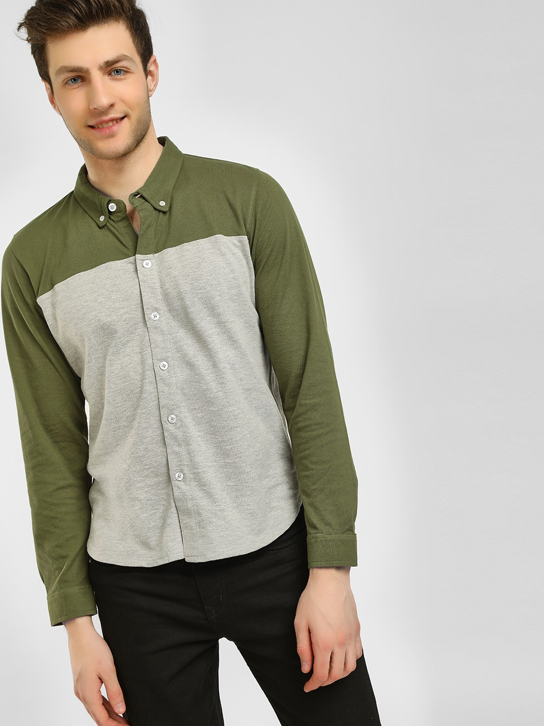 Garcon Olive Cut And Sew Casual Shirt 1