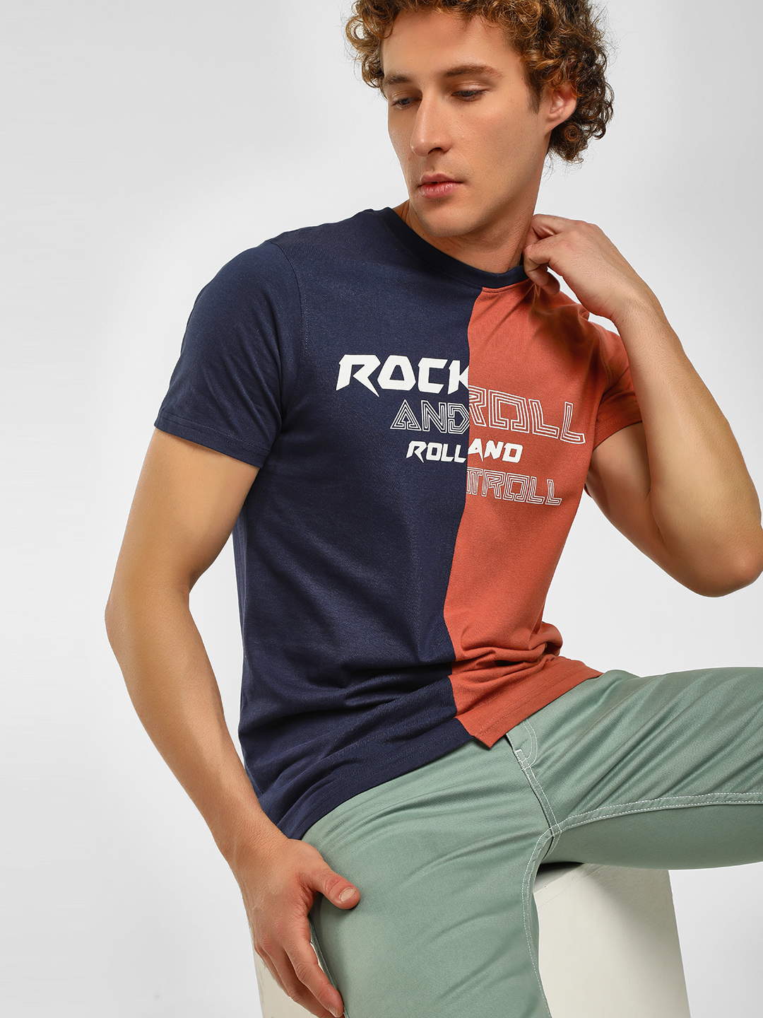 Garcon Navy Rock and Roll Colour Block T-Shirt 1