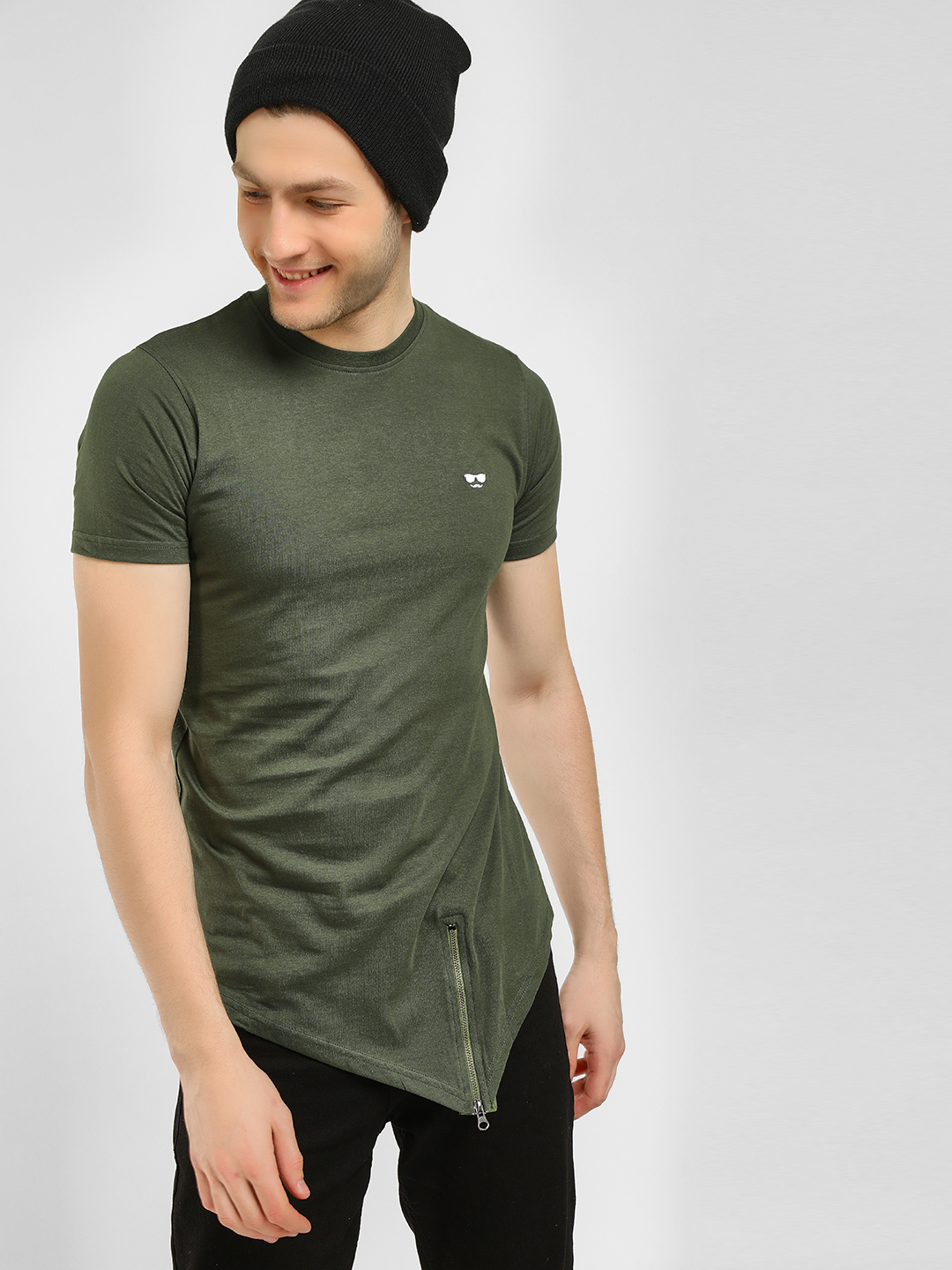 Garcon Green Asymmetric Hem Casual T-Shirt 1