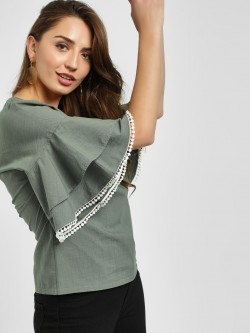 PostFold Layered Sleeve Laced Hem Top