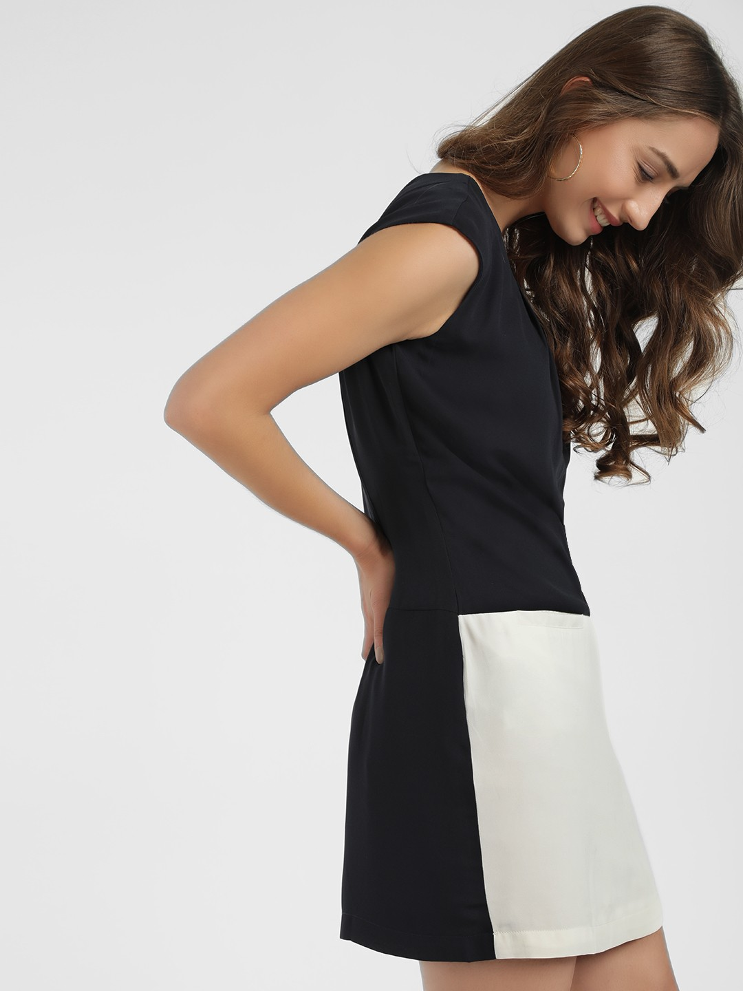 PostFold Navy/White Colour Block Shift Dress 1