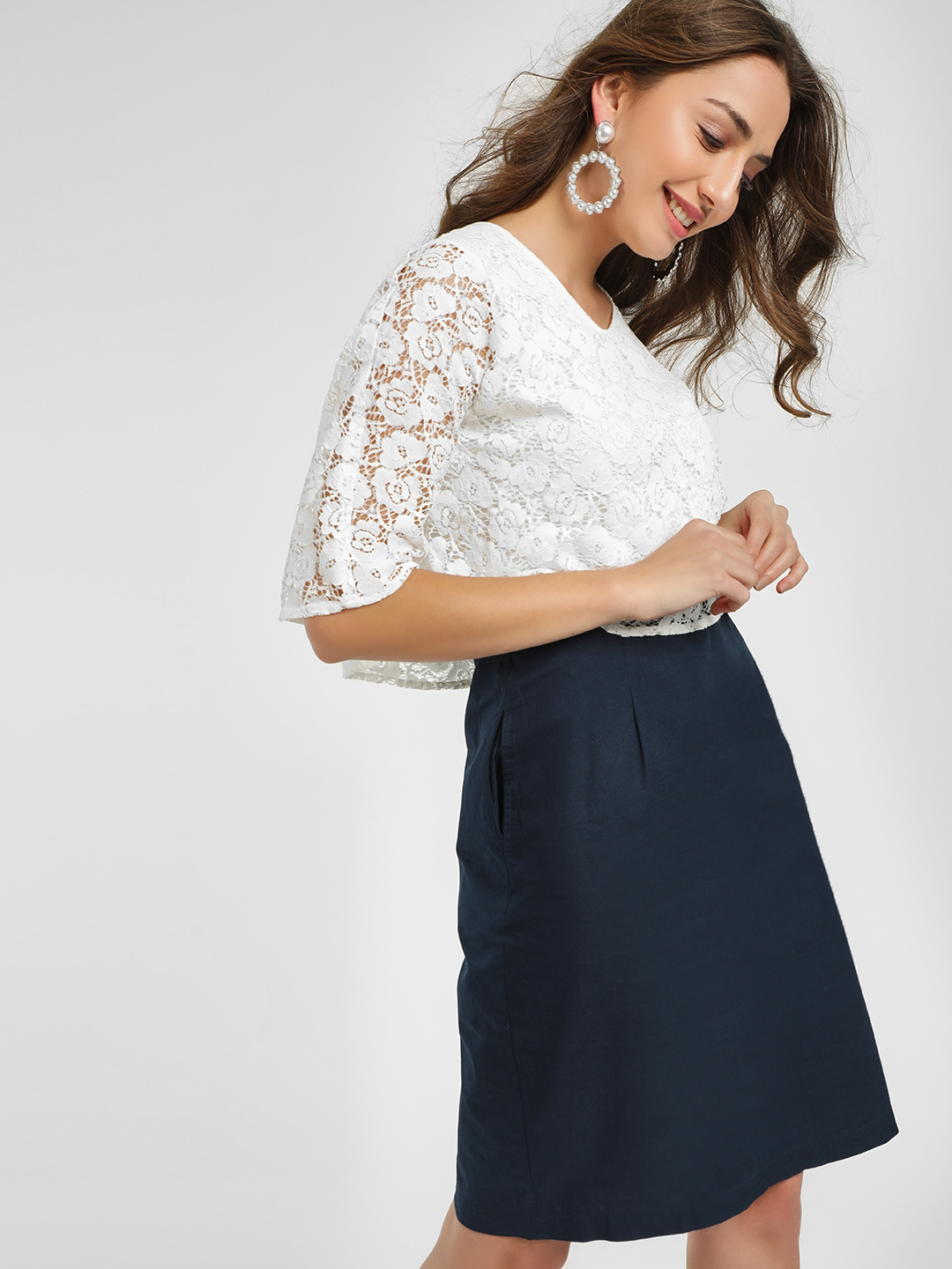 PostFold Navy/White Cape Sleeves Lace Shift Dress 1