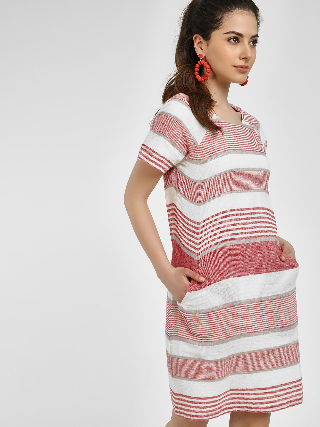 PostFold Red/White Striped Shift Dress 1