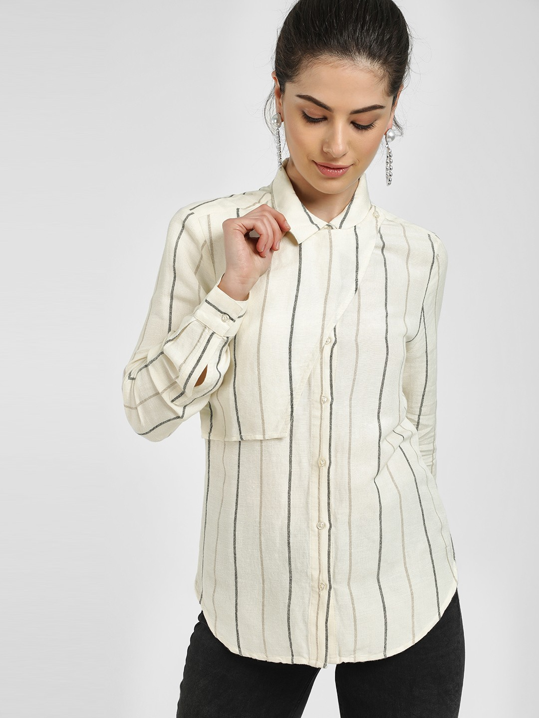 PostFold Off-White Overlay Panelled Stripes Shirt 1