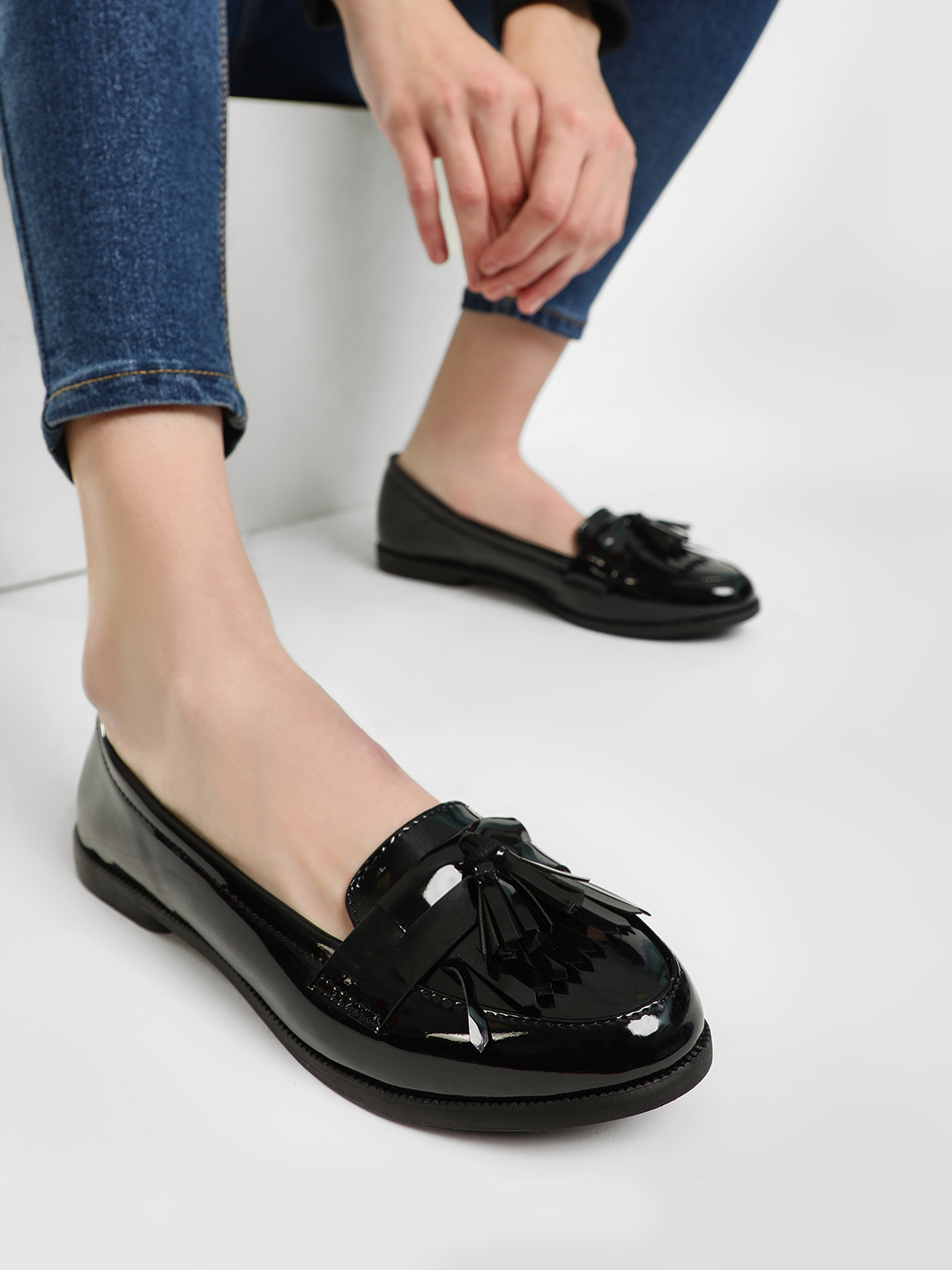 New Look Black Patent Finish Fringe Tassel Loafers 1