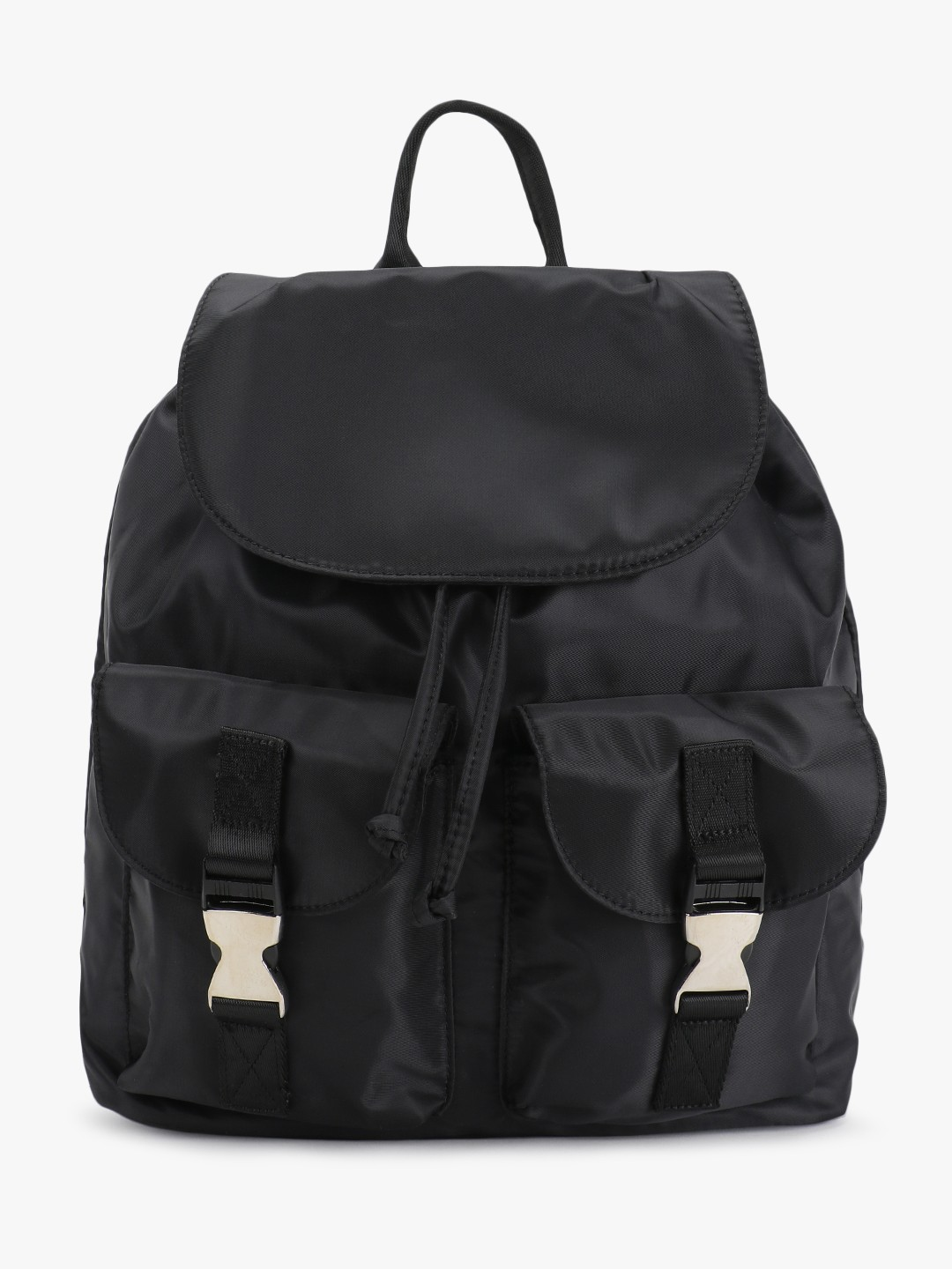 New Look Black Twin Patch Pocket Backpack 1
