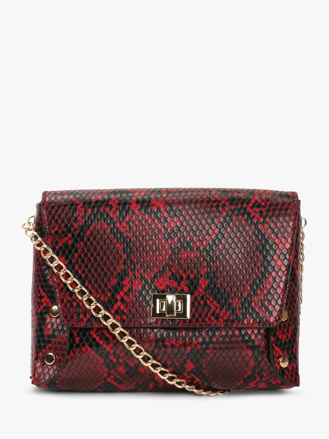 New Look Red Snake Print Sling Bag 1