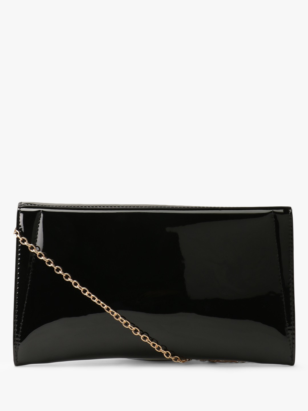 New Look Black Patent Finish Envelope Clutch 1