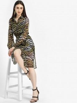 KOOVS Zebra Print Shirt Dress