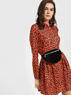 KOOVS Leopard Print Skater Dress