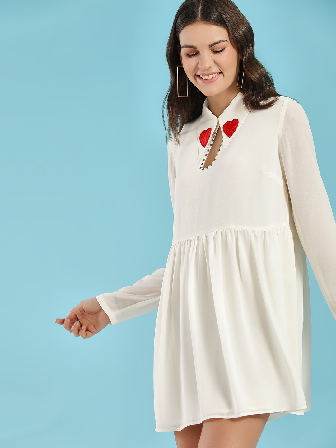 Glamorous Off-White Heart Applique Collar Skater Dress 1