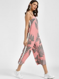 Glamorous Contrast Side Stripe Tropical Print Jumpsuit