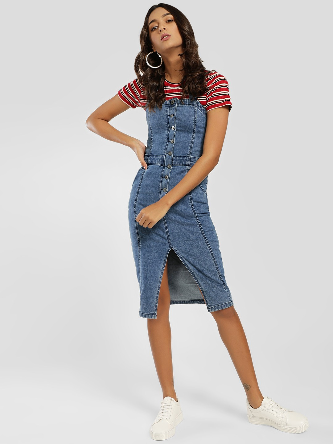 K Denim Blue KOOVS Pinafore Buttoned Denim Dress 1