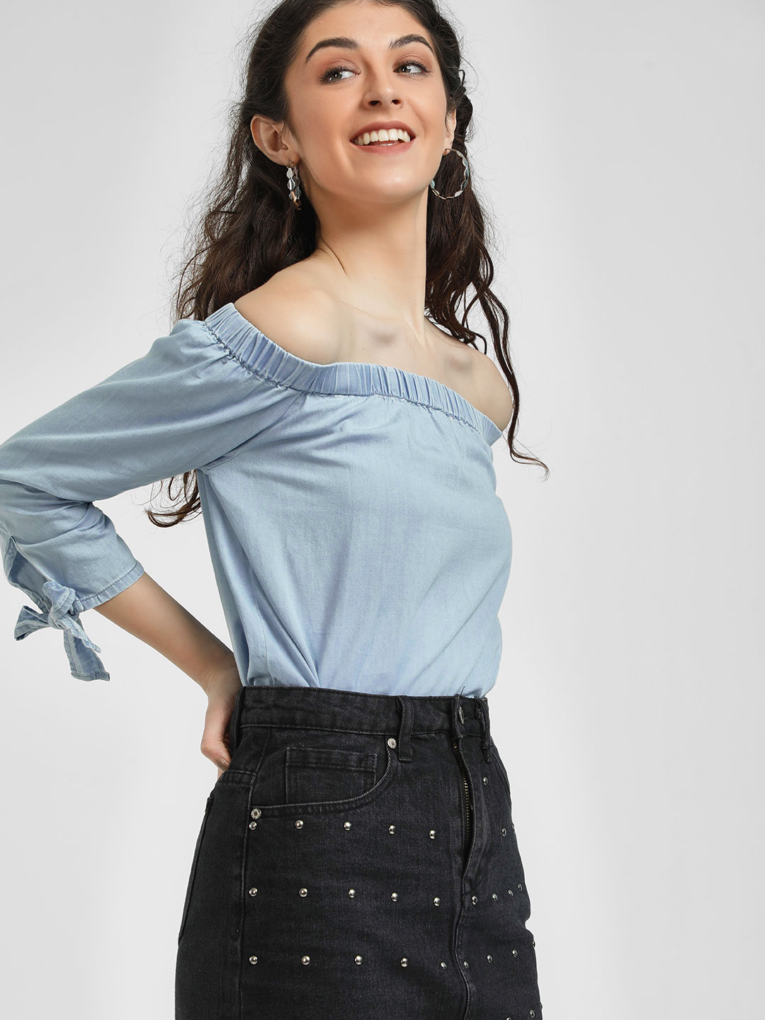 Blue Saint Blue Off Shoulder Blouse 1