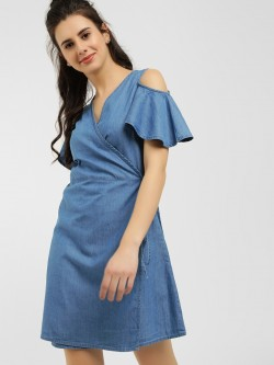 Blue Saint Cold Shoulder Wrap Shift Dress