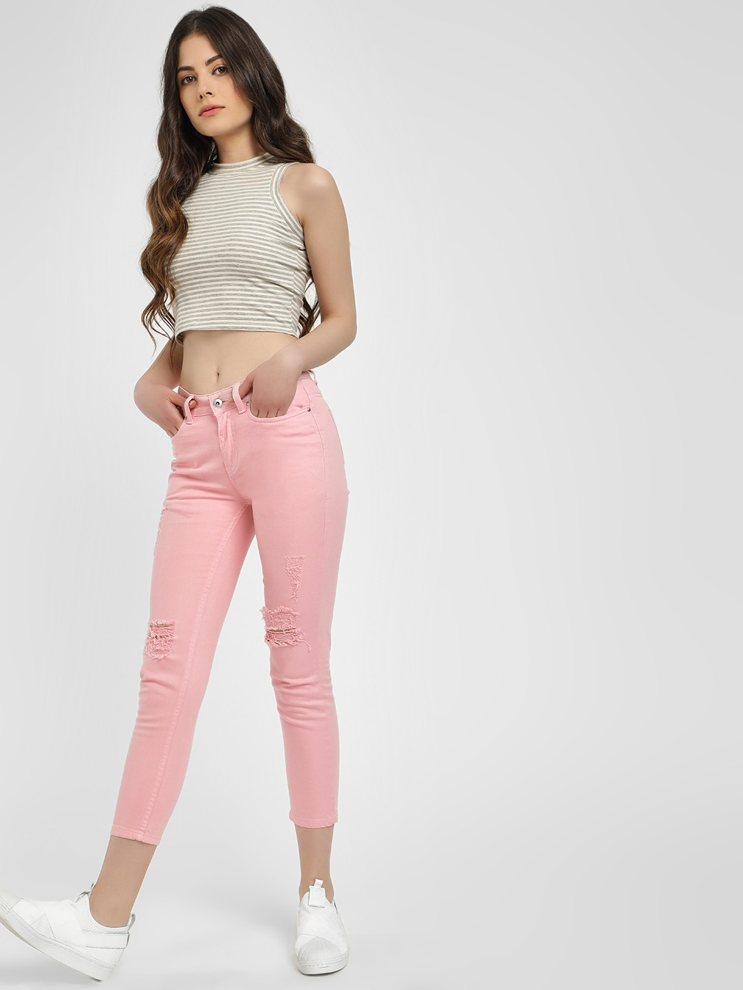 Blue Saint Pink Distressed Cropped Skinny Jeans 1
