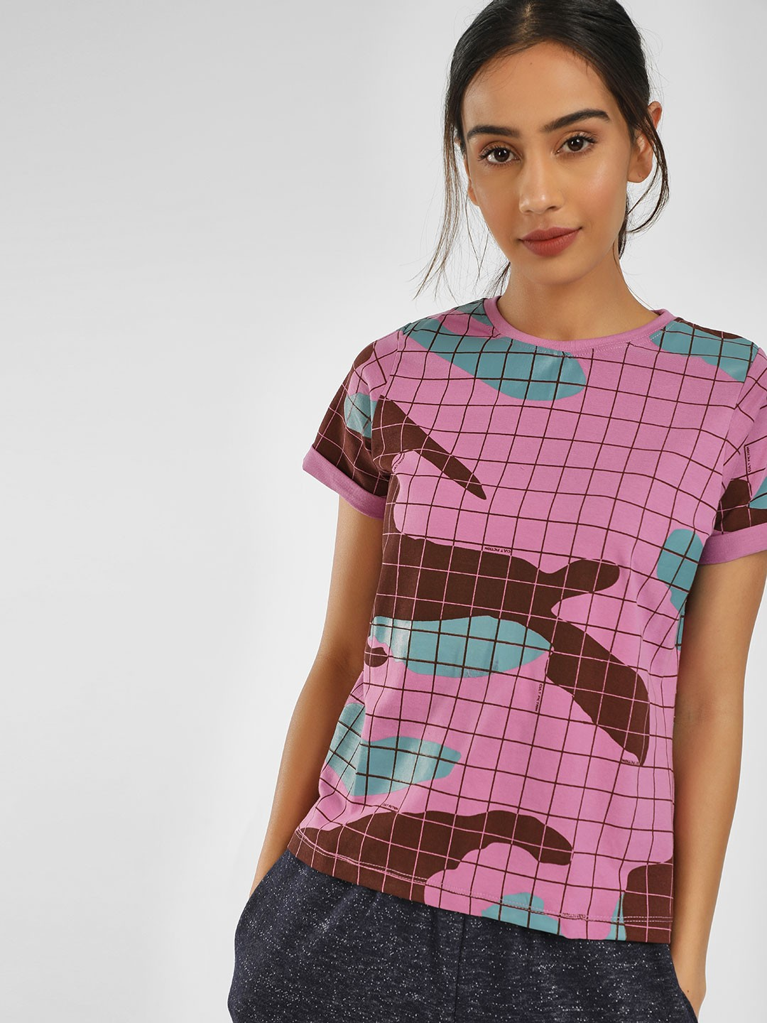 Cult Fiction Pink Camo Print Check T-Shirt 1