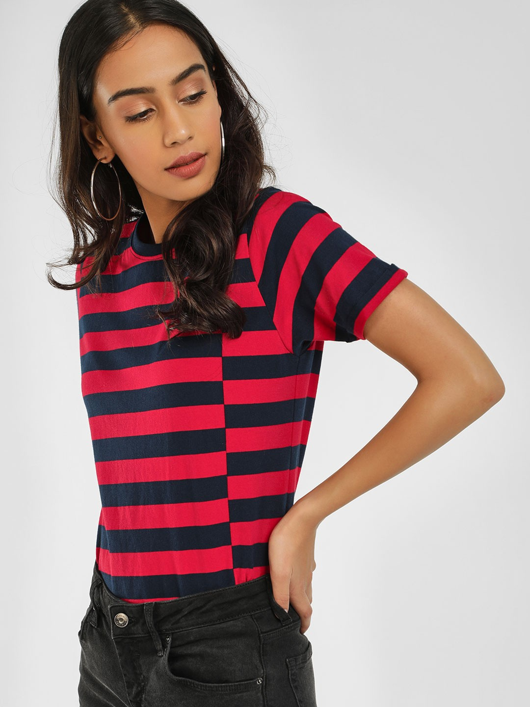 Cult Fiction Red Casual Stripe T-Shirt 1