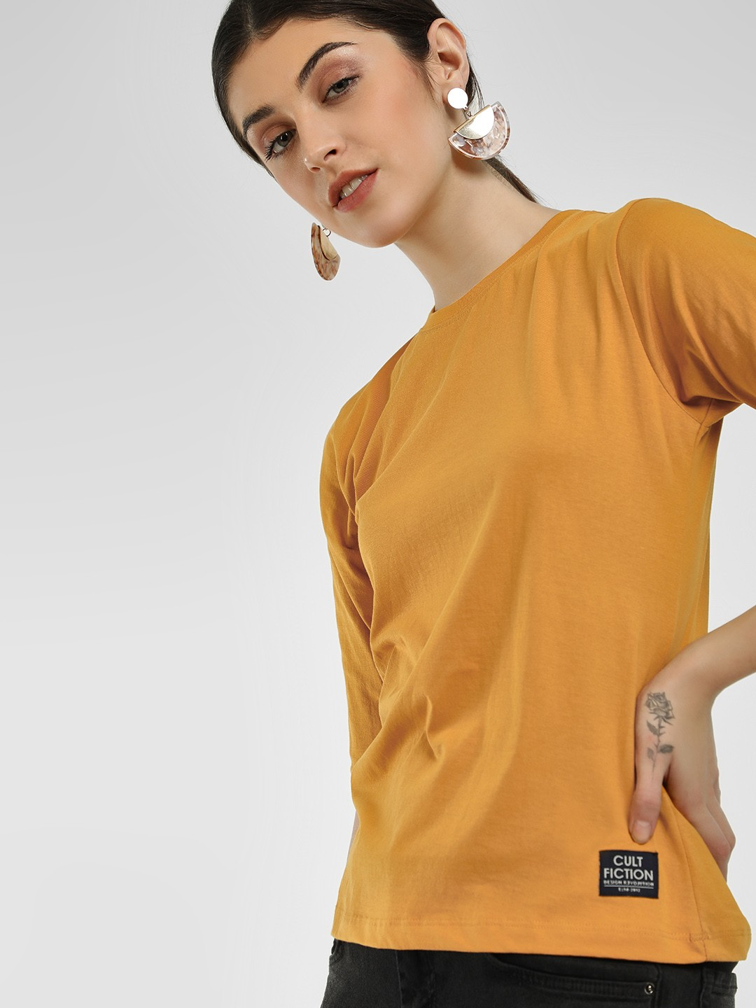 Cult Fiction Yellow Basic Round Neck T-Shirt 1