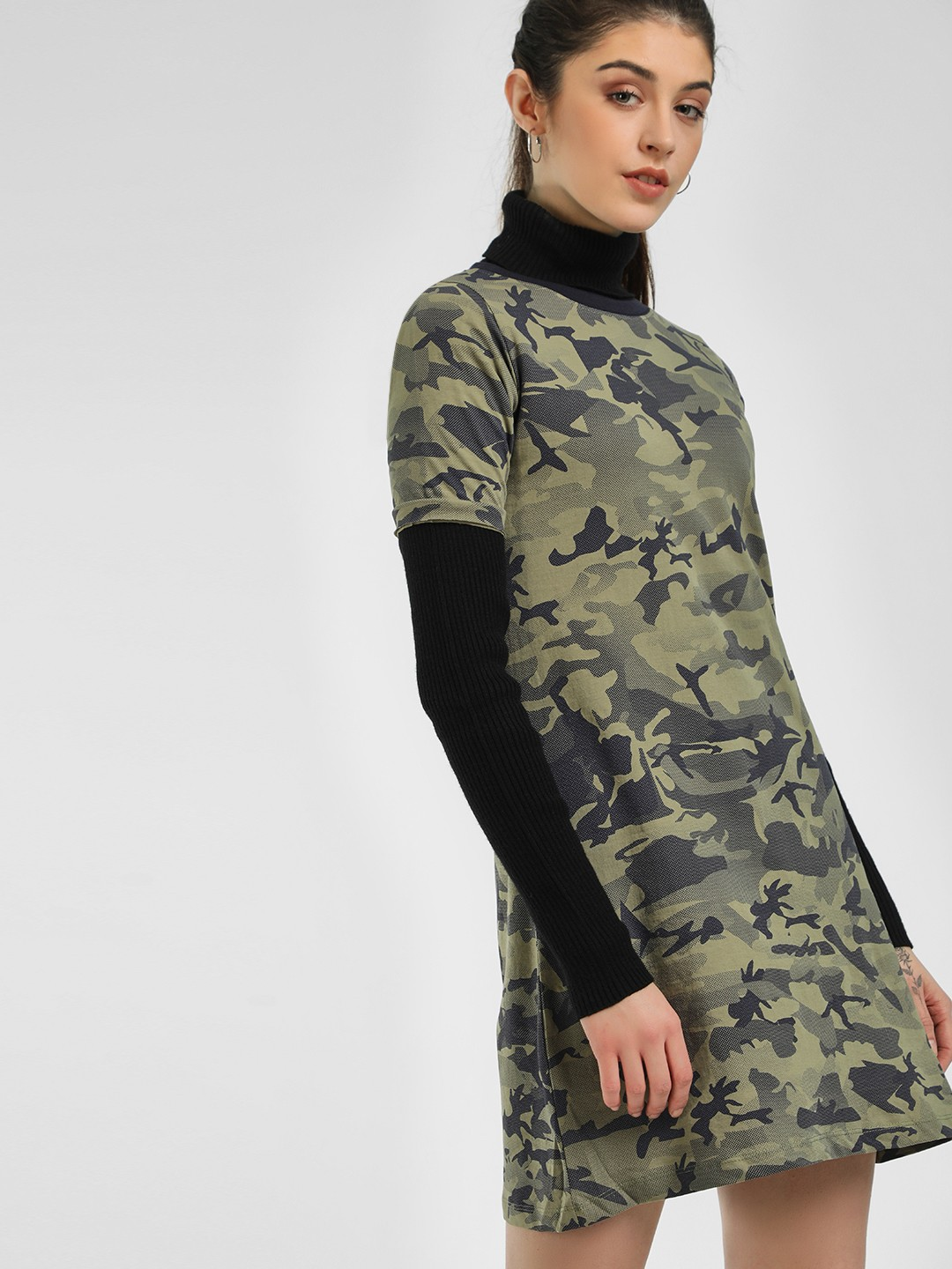 Cult Fiction Multi Camo Print Shift Dress 1
