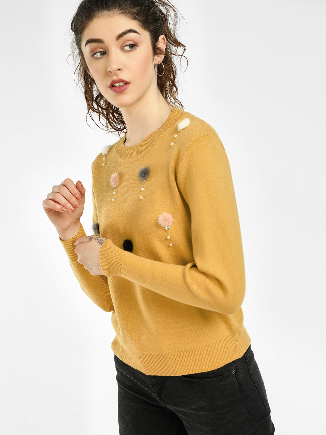 KOOVS Yellow Embellished Pompoms Ribbed Pullover 1