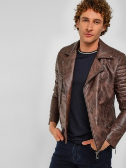 Fort Collins Biker Panel Sleeve PU Jacket