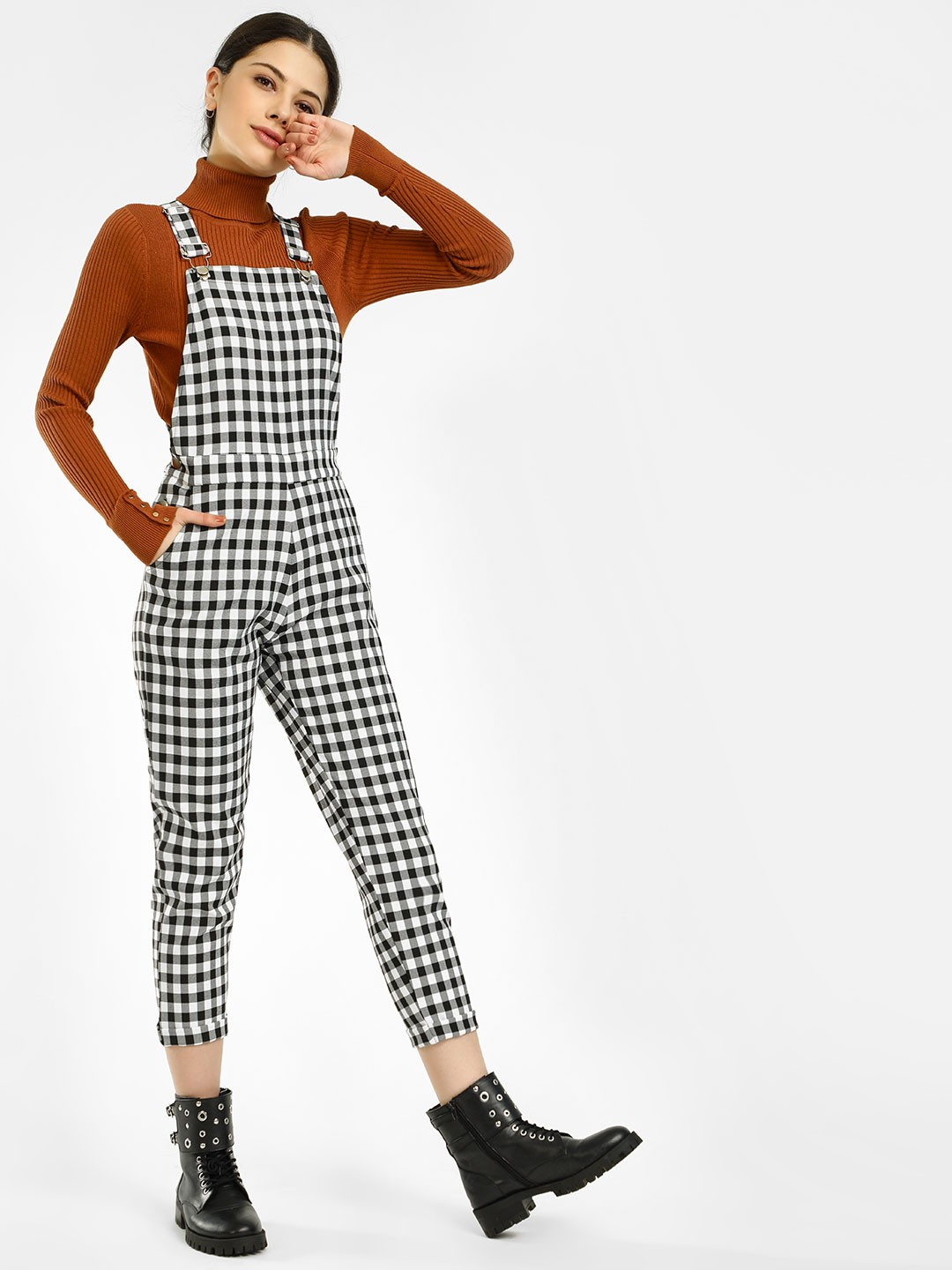 KOOVS Multi Gingham Check Jumpsuit 1