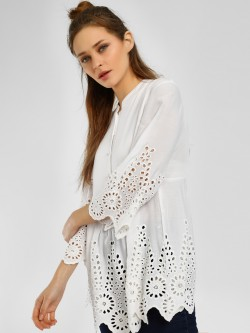 Kisscoast Broderie Scalloped Hem Blouse
