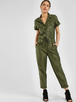 KOOVS Button Down Tie-Up Jumpsuit