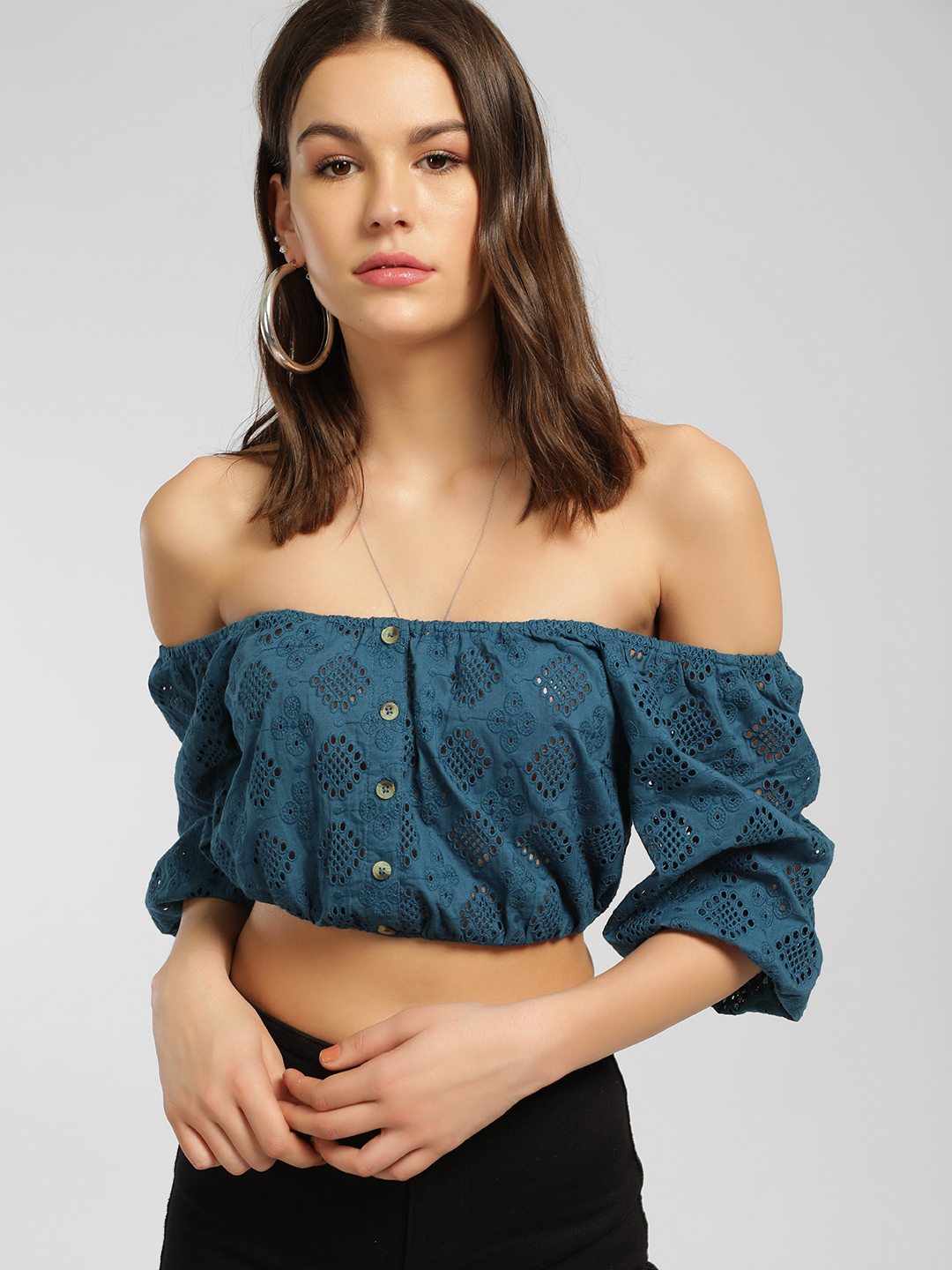 KOOVS Blue Broderie Puff Sleeve Crop Top 1