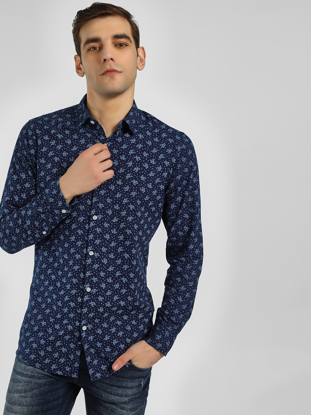 Adamo London Blue Paisley Print Casual Shirt 1