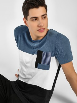 Adamo London Colour Block Stripe Pocket T-Shirt