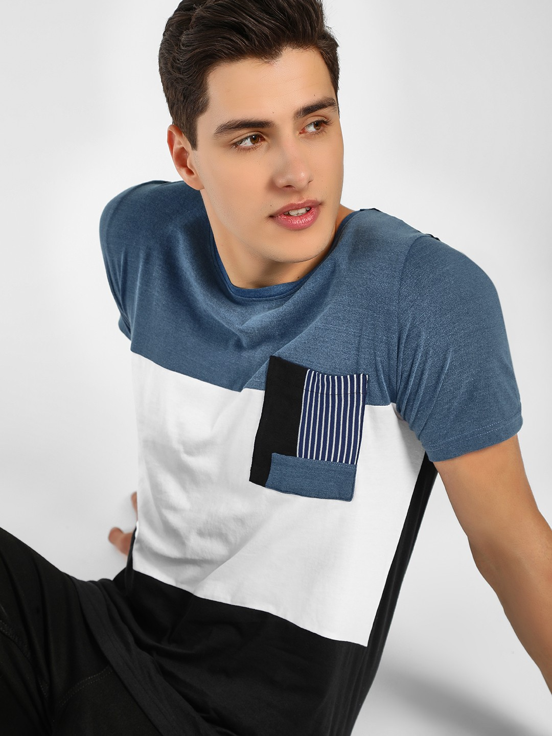 Adamo London Multi Colour Block Stripe Pocket T-Shirt 1