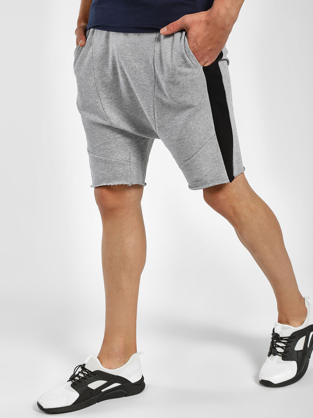 Adamo London Grey Melange Raw Edge Contrast Tape Shorts 1