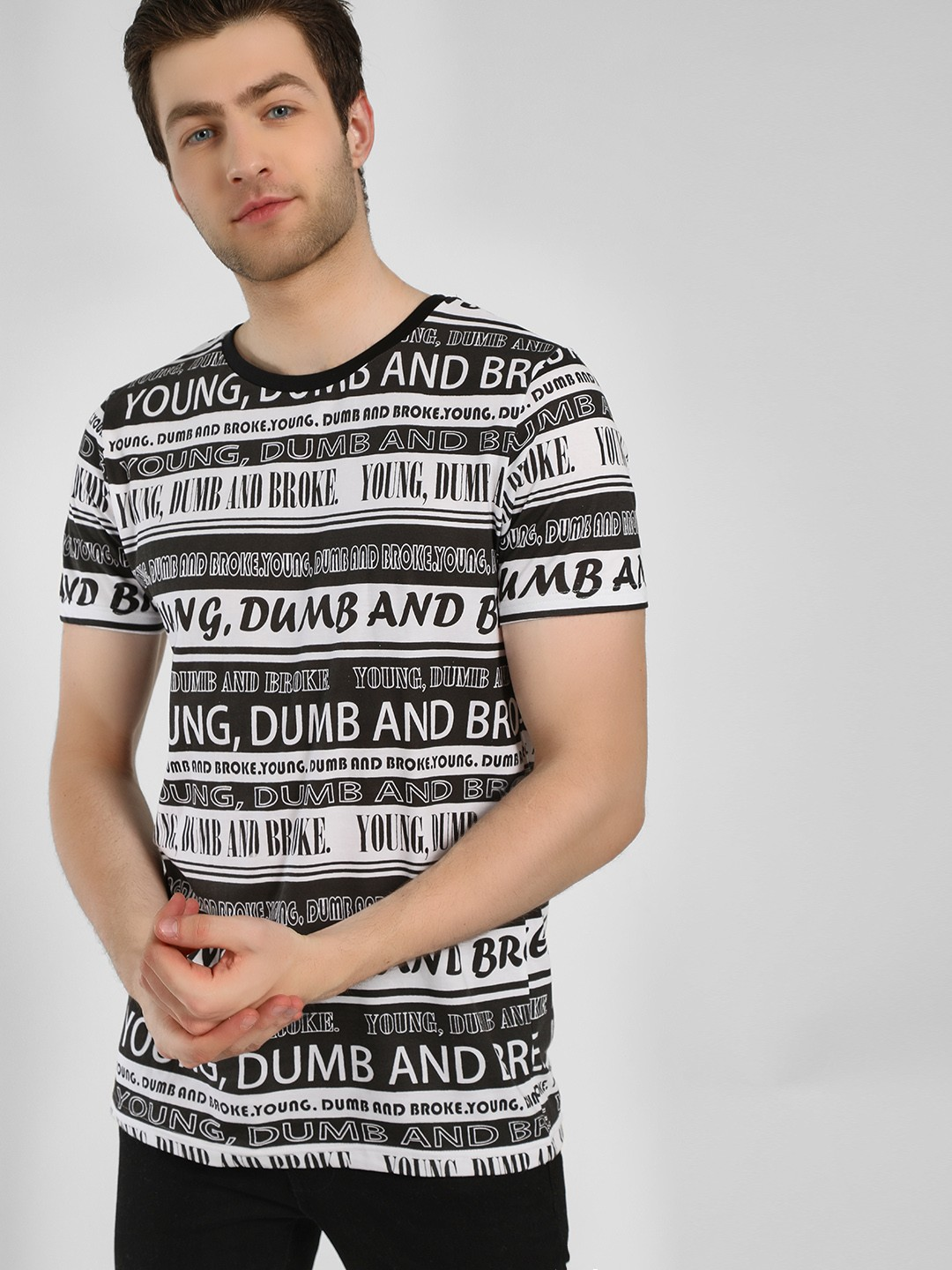 Adamo London Black All Over Slogan Print T-Shirt 1