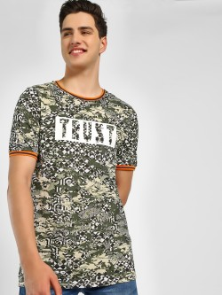 Adamo London Text Geometric Camouflage Print Ringer T-Shirt
