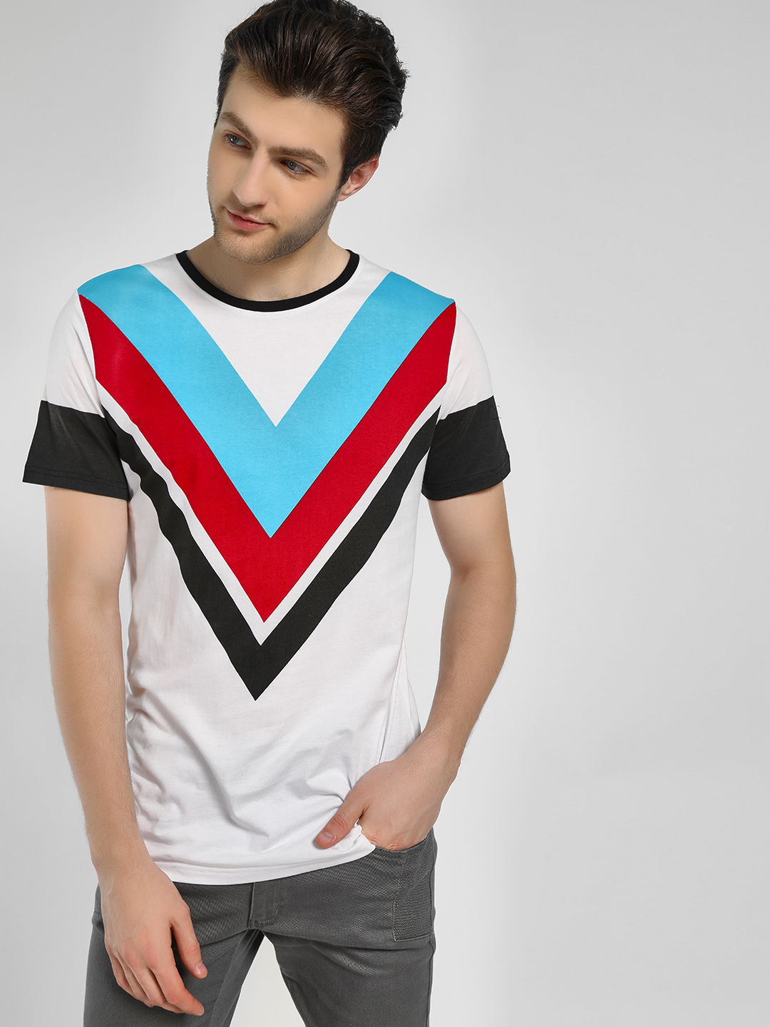 Adamo London White Chevron Print Ribbed Neck T-Shirt 1