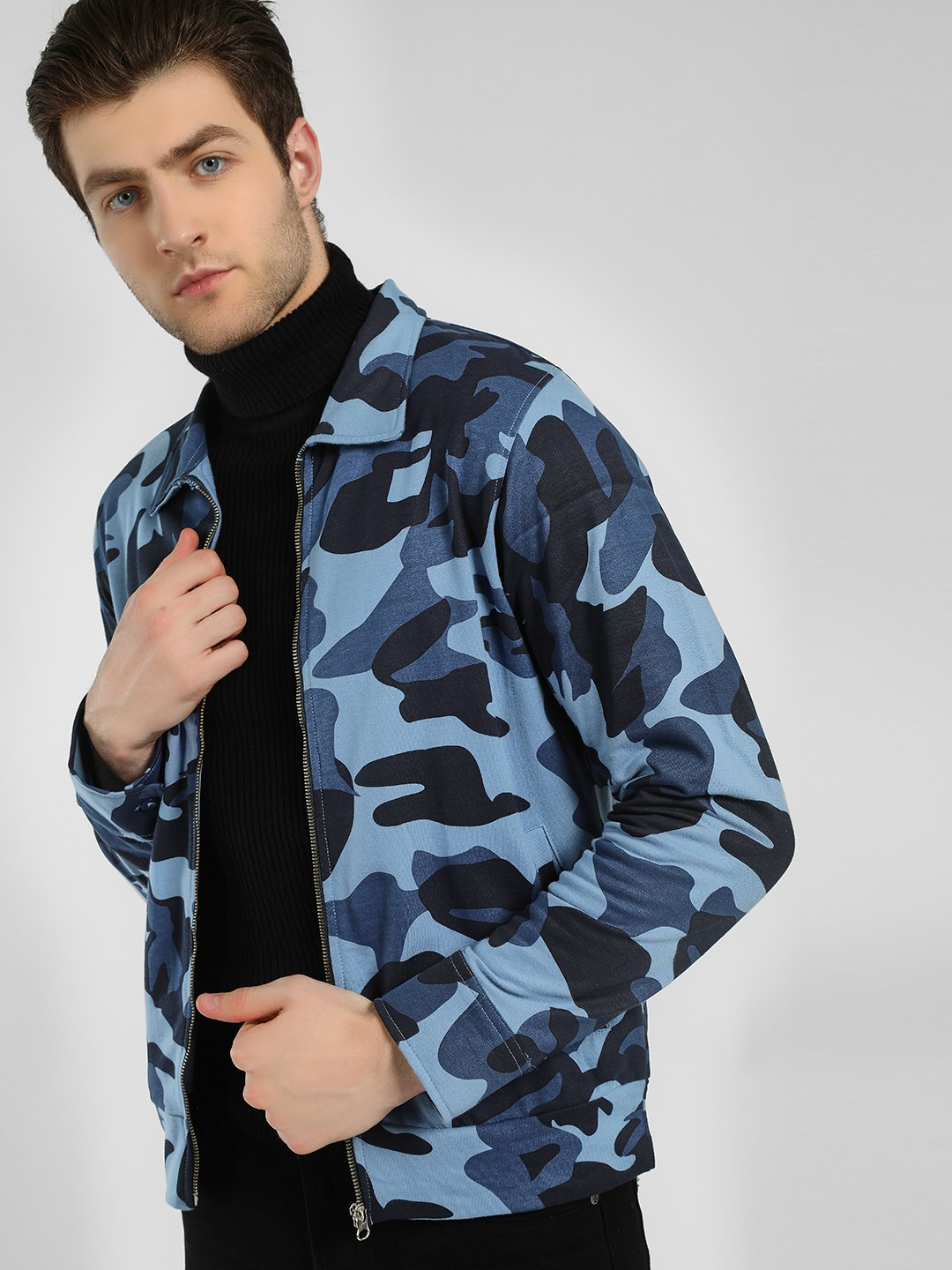 Garcon Blue Camo Print Collared Jacket 1