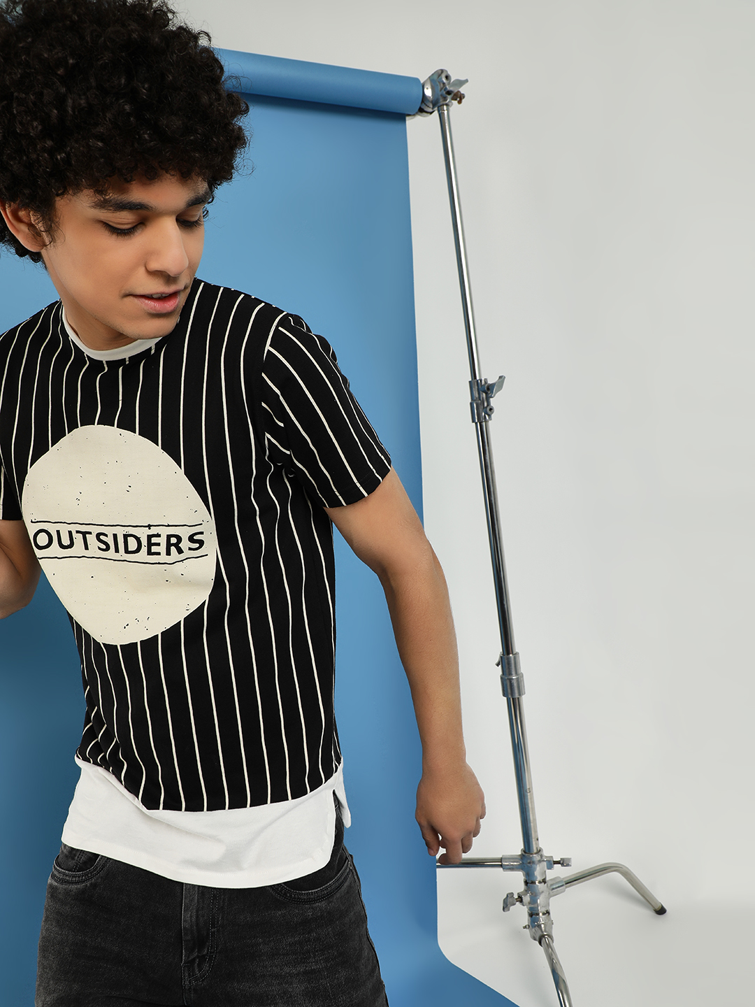 Garcon Black Striped Placement Print T-Shirt 1