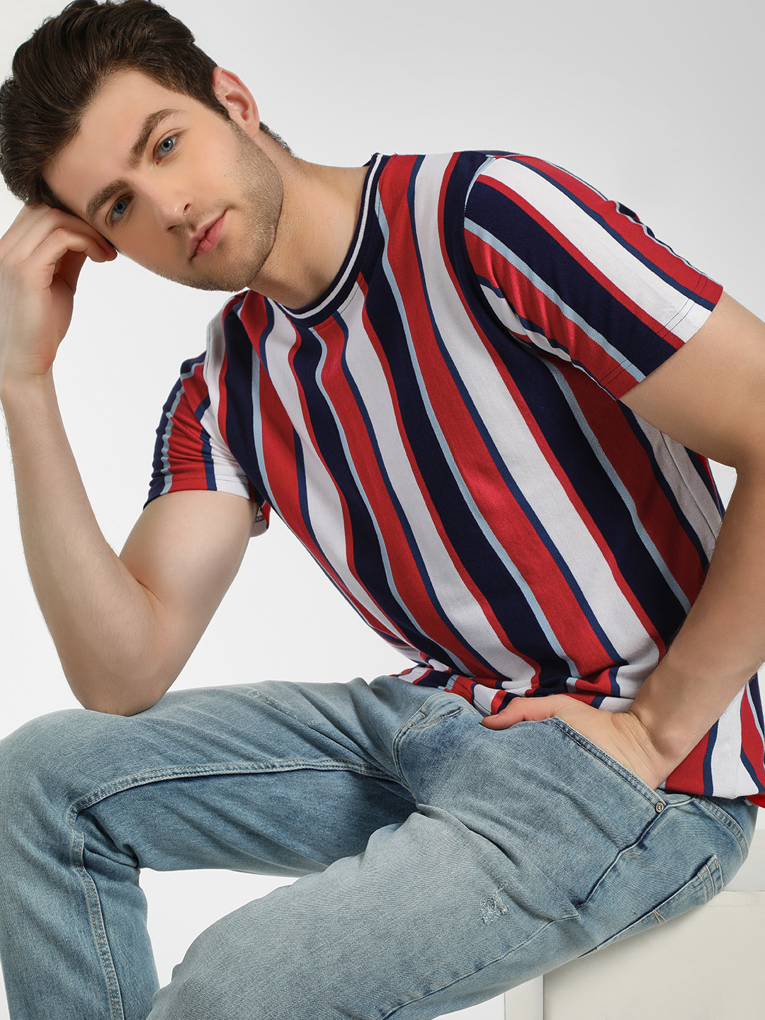 Garcon Red Vertical Stripe Ringer T-Shirt 1